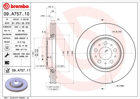 Диск тормозной Brembo 09A7571009A75710