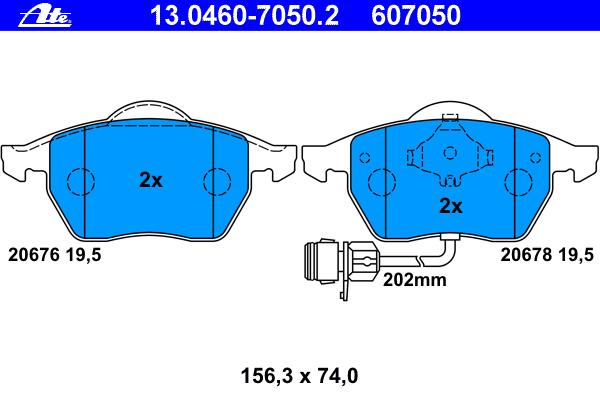 Колодки тормозные дисковые Ate 1304607050213046070502