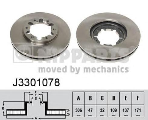 Диск тормозной передний вентилируемый Nipparts J3301078J3301078