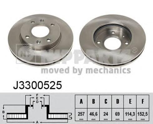 Диск тормозной передний Nipparts J3300525 комплект 2 штJ3300525