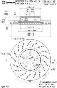 Диск тормозной передний Brembo 09A6213109A62131