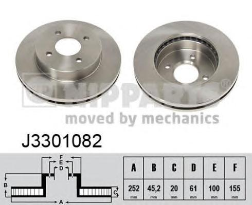 Диск тормозной передний вентилируемый Nipparts J3301082 комплект 2 штJ3301082