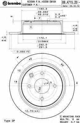 Диск тормозной задний Brembo 08A7152008A71520