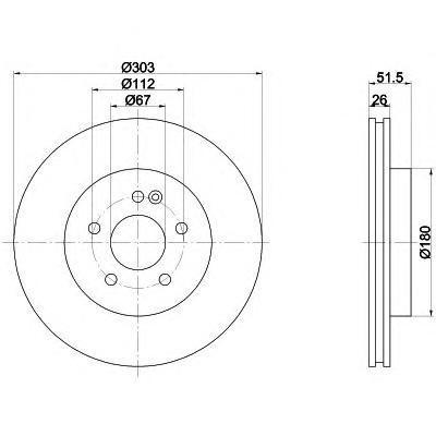Диск тормозной передний вентилируемый303x26 5отв Textar 92089905 комплект 2 шт92089905