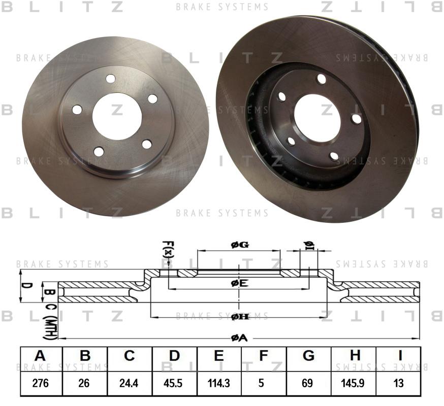 Диск тормозной BLITZ автотовары BS0334BS0334