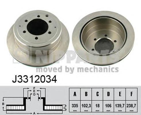 Диск тормозной задний вентилируемый Nipparts J3312034J3312034