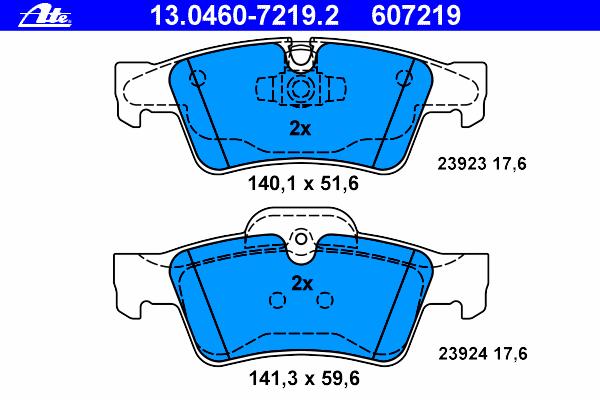 Колодки тормозные дисковые Ate 1304607219213046072192
