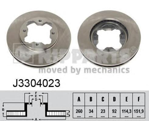 Диск тормозной передний вентилируемый Nipparts J3304023J3304023