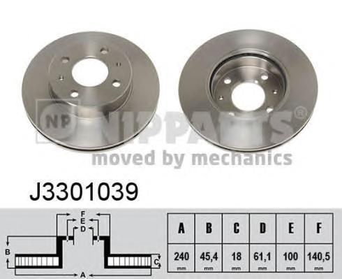 Диск тормозной передний вентилируемый Nipparts J3301039 комплект 2 штJ3301039