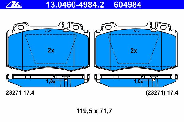 Колодки тормозные Ate 1304604984213046049842