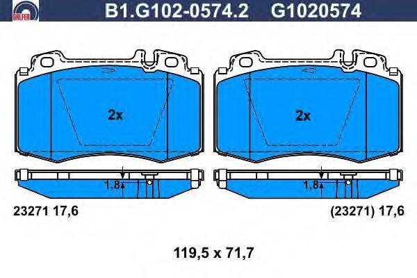 Колодки тормозные MER W220 ПЕР Galfer B1G10205742B1G10205742