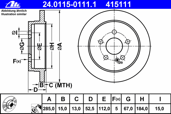 Диск тормозной Ate 24011501111 комплект 2 шт24011501111