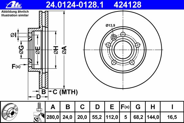 Диск тормозной Ate 2401240128124012401281