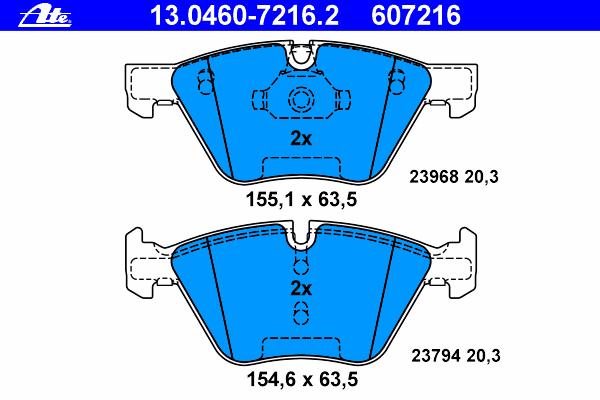 Колодки тормозные дисковые Ate 1304607216213046072162