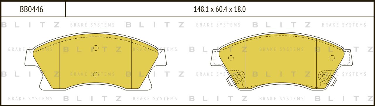 Колодки тормозные дисковые BLITZ автотовары BB0446BB0446