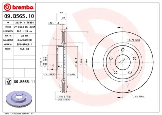 Диск тормозной Brembo 09B10 комплект 2 шт09B10