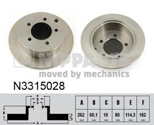 Диск тормозной задний Nipparts N3315028 2 шт комплект 2 штN3315028