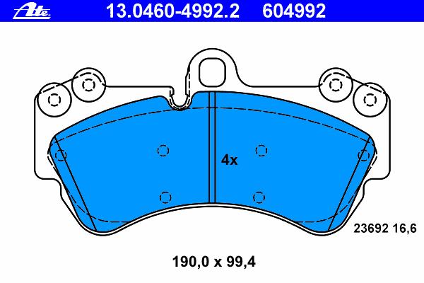 Колодки тормозные дисковые Ate 1304604992213046049922