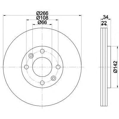 Диск тормозной Pro BEHR-HELLA 8DD355108351 комплект 2 шт8DD355108351