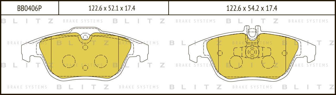 Колодки тормозные дисковые BLITZ автотовары BB0406PBB0406P