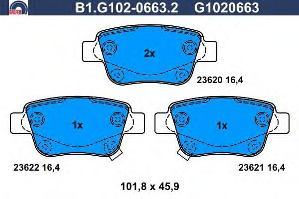 Колодки тормозные Galfer B1G10206632B1G10206632