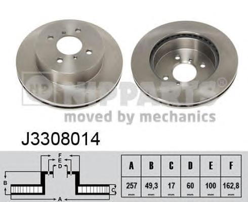 Диск тормозной передний вентилируемый Nipparts J3308014 комплект 2 штJ3308014