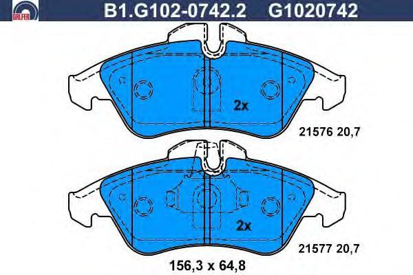 Колодки тормозные дисковые Galfer B1G10207422B1G10207422