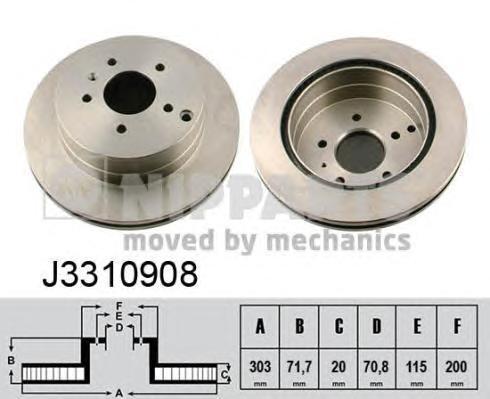 Диск тормозной задний Nipparts J3310908 комплект 2 штJ3310908