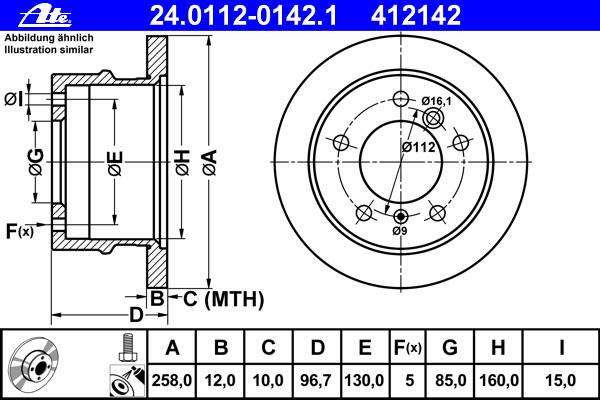 Диск тормозной Ate 24011201421 комплект 2 шт24011201421