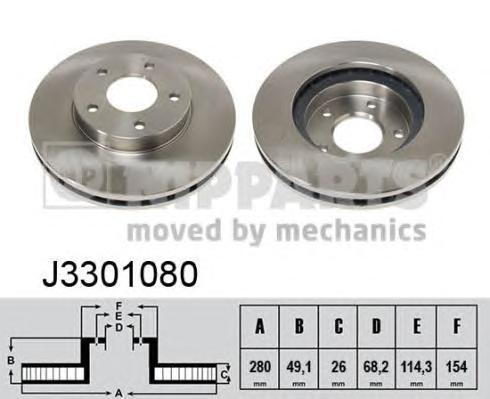 Диск тормозной передний вентилируемый Nipparts J3301080 комплект 2 штJ3301080
