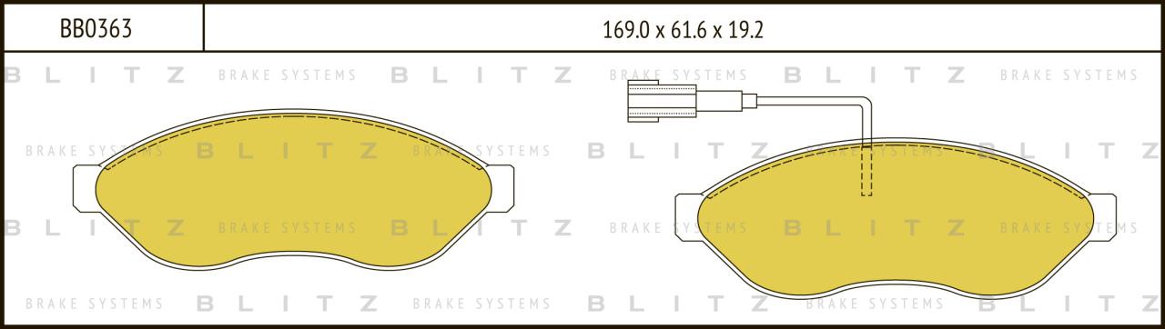 Колодки тормозные дисковые BLITZ автотовары BB0363BB0363