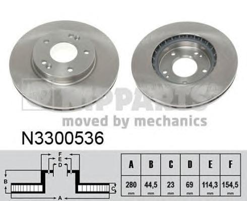 Диск тормозной передний вентилируемый 11 Nipparts N3300536 комплект 2 штN3300536