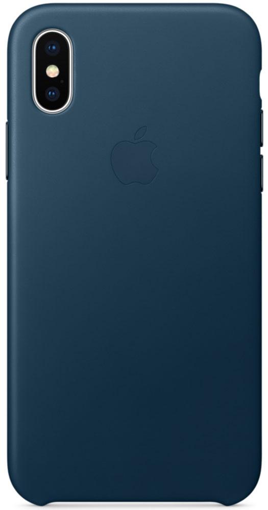 Apple Leather Case чехол для iPhone X, Cosmos BlueMQTH2ZM/AЧехлы от Apple точно повторяют контуры iPhone, не делая его громоздким. Они изготовлены из специально обработанной кожи европейского производства, которая со временем покрывается благородной патиной. Внутренняя поверхность чехла, выполненная из микрофибры, защищает корпус вашего iPhone. А цвет кнопок из обработанного алюминия идеально к нему подходит. Чехол не придётся снимать даже во время беспроводной зарядки.