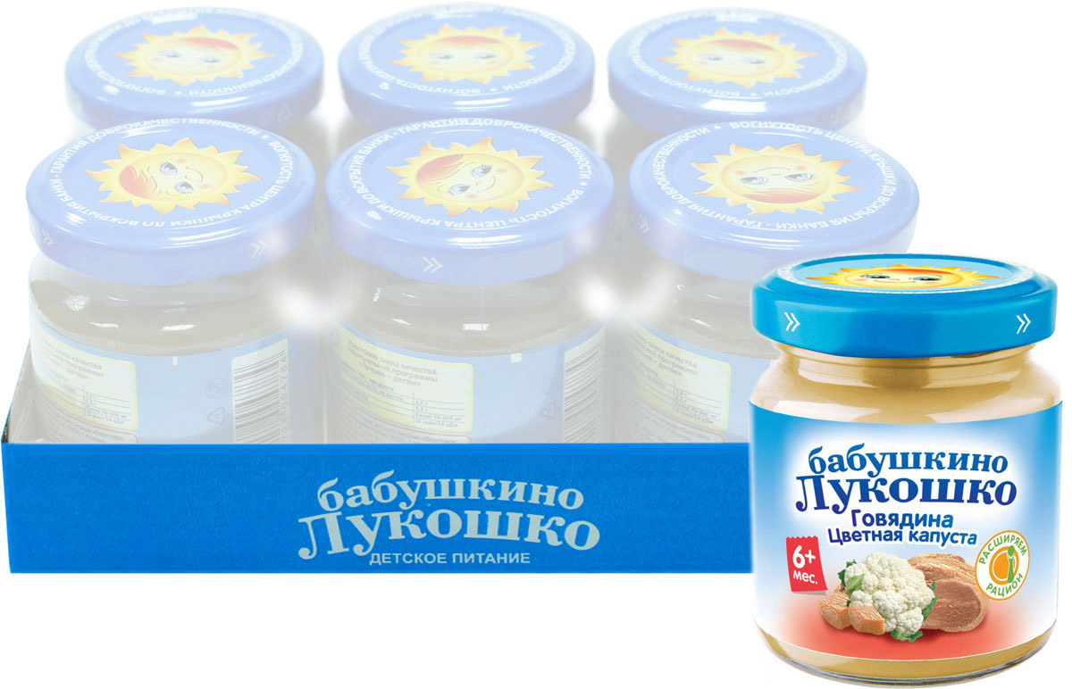 Бабушкино Лукошко Говядина Цветная капуста пюре с 6 месяцев, 100 г, 6 шт053648Мясо кролика - настоящая кладовая витаминов и минералов: оно богато витаминами группы В (B6, B12), содержит витамины С и РР, а также железо, калий, фосфор, марганец, кобальт и фтор. Мясо кролика содержит легкоусвояемый белок, за счет низкого содержания