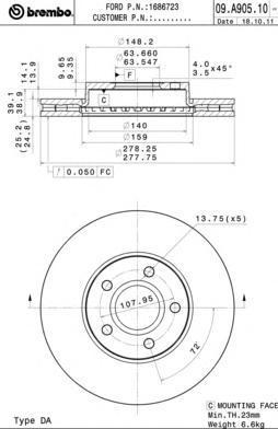 Диск тормозной передний Brembo 09A90510 комплект 2 шт09A90510