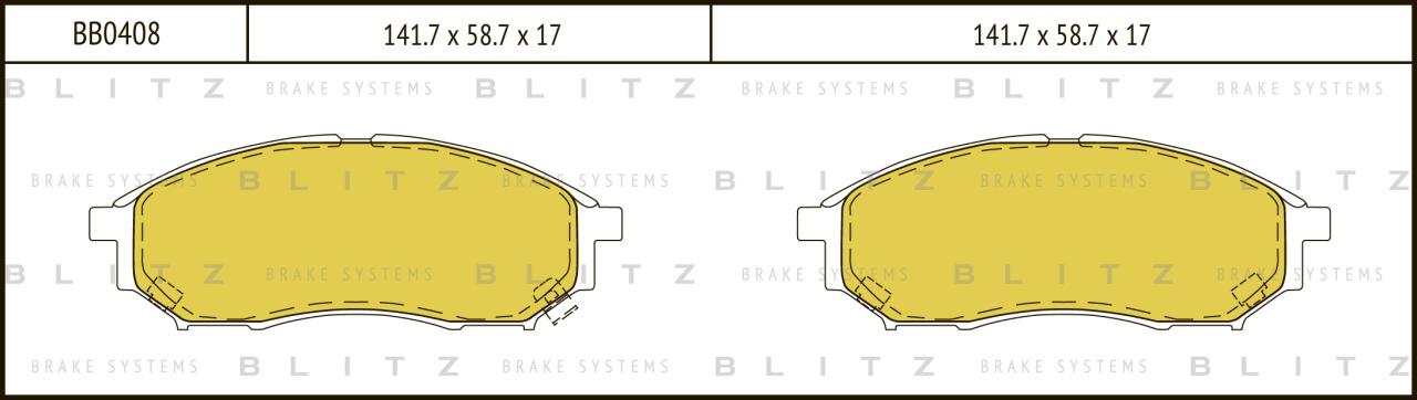 Колодки тормозные дисковые BLITZ автотовары BB0408BB0408