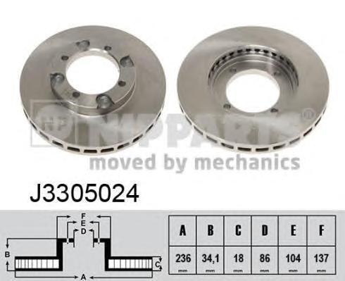 Диск тормозной передний вентилируемый Nipparts J3305024J3305024
