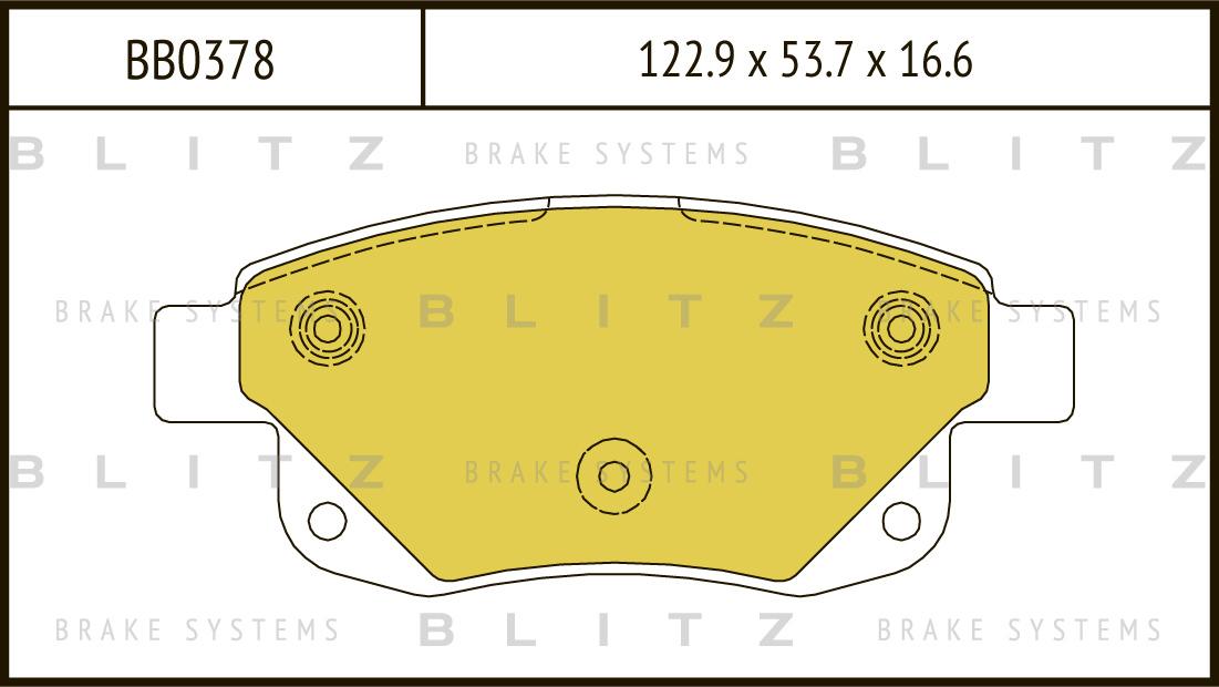Колодки тормозные дисковые BLITZ автотовары BB0378BB0378