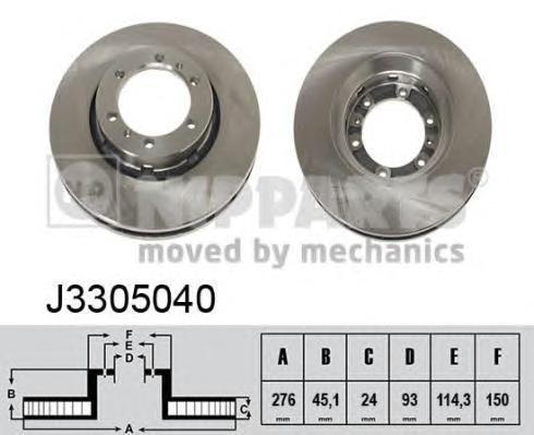 Диск тормозной передний вентилируемый Nipparts J3305040 комплект 2 штJ3305040