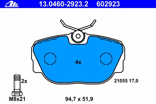 Колодки тормозные Ate 1304602923213046029232