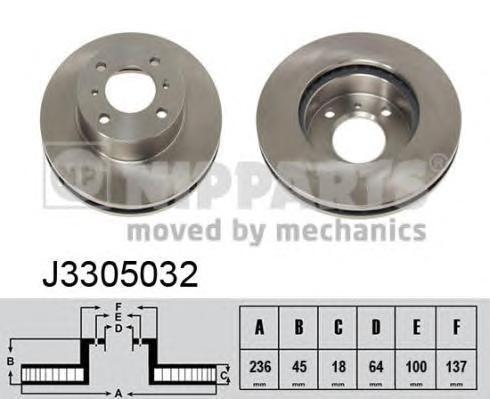 Диск тормозной передний вентилируемый Nipparts J3305032 комплект 2 штJ3305032