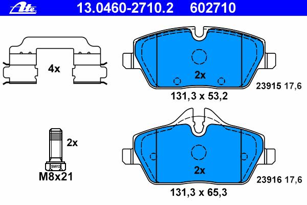 Колодки тормозные дисковые Ate 1304602710213046027102
