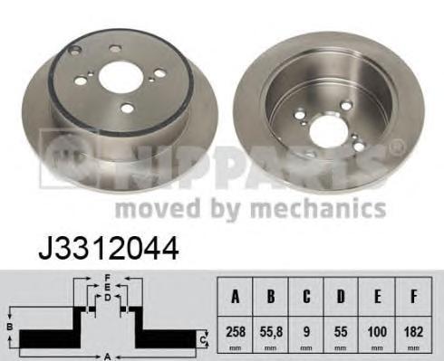 Диск тормозной задний Nipparts J3312044 комплект 2 штJ3312044