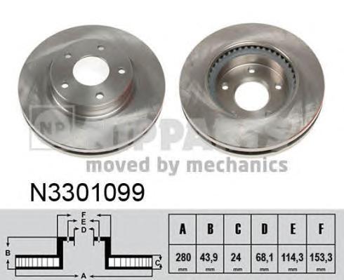 Диск тормозной передний Nipparts N3301099 комплект 2 штN3301099
