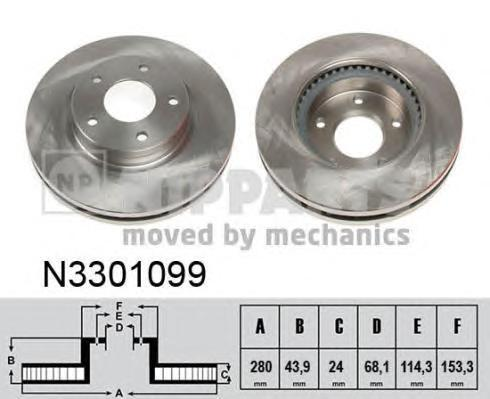 Диск тормозной передний Nipparts N3301099N3301099