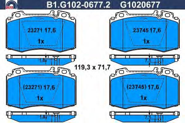 Колодки тормозные дисковые Galfer B1G10206772B1G10206772