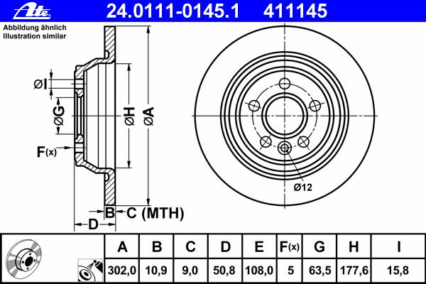 Диск тормозной Ate 24011101451 комплект 2 шт24011101451