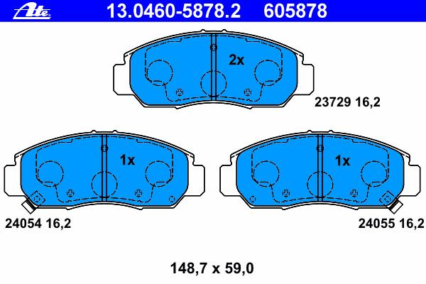 Колодки тормозные дисковые Ate 1304605878213046058782
