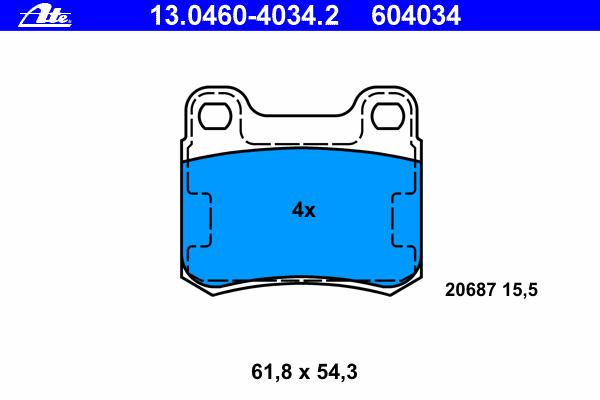 Колодки тормозные дисковые Ate 1304604034213046040342