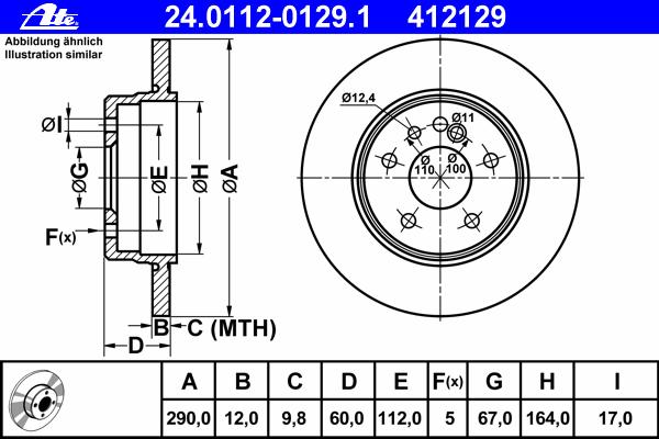 Диск тормозной Ate 24011201291 комплект 2 шт24011201291